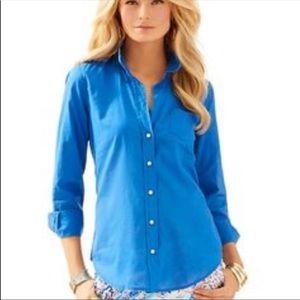 Lilly Pulitzer Anna Maria Blue Button Down Shirt